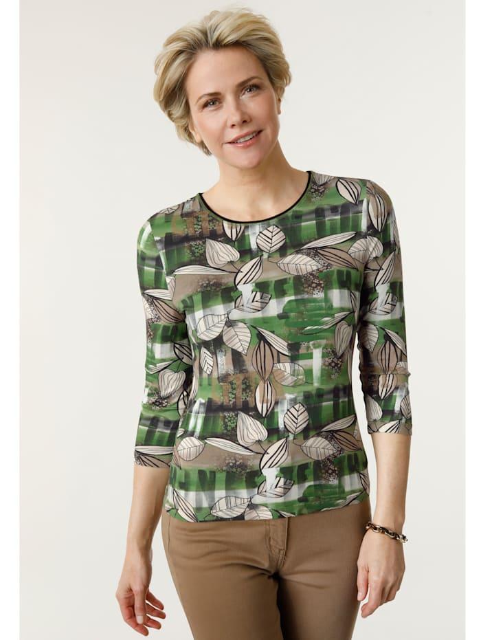 Barbara Lebek T-shirt à mélange de motifs, Vert/Cognac