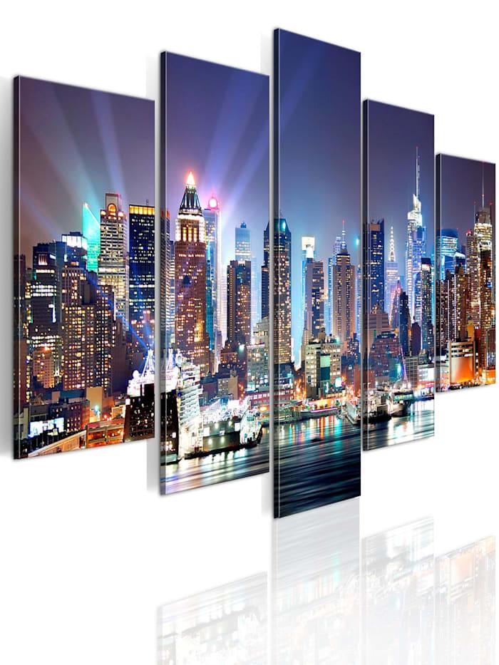 artgeist Wandbild Die Stadt unter Flutlicht, orange,grey,navy blue,brown