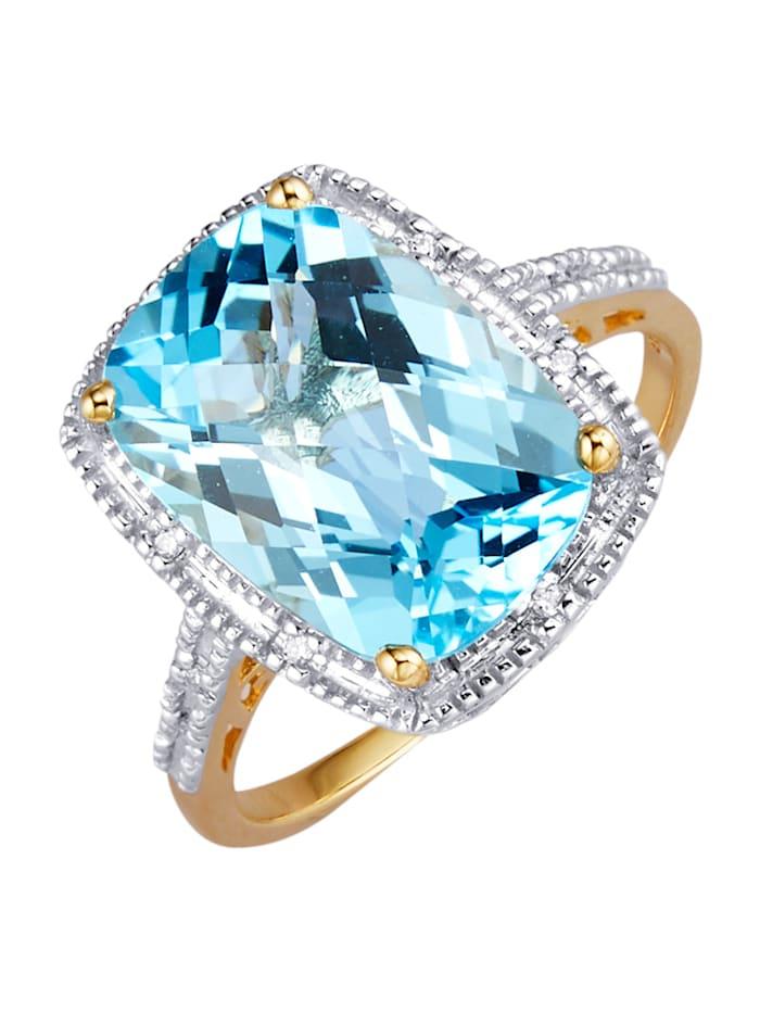 Amara Pierres colorées Bague avec topaze bleue, Bleu