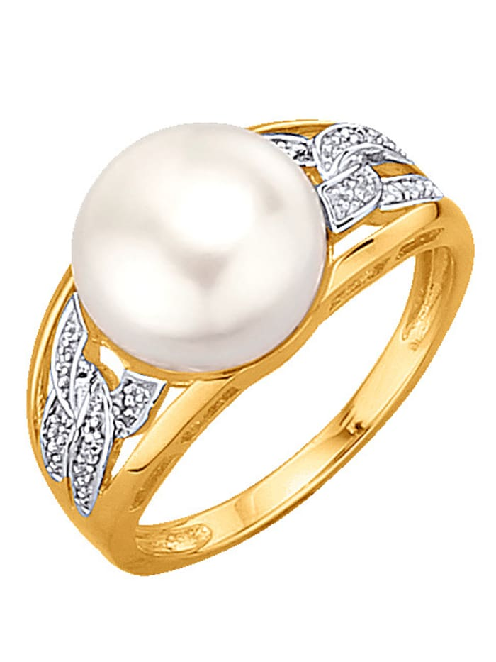 Damenring mit Perle, Gelb