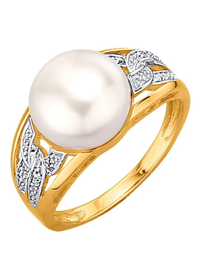KLiNGEL Damenring mit Perle, Gelb