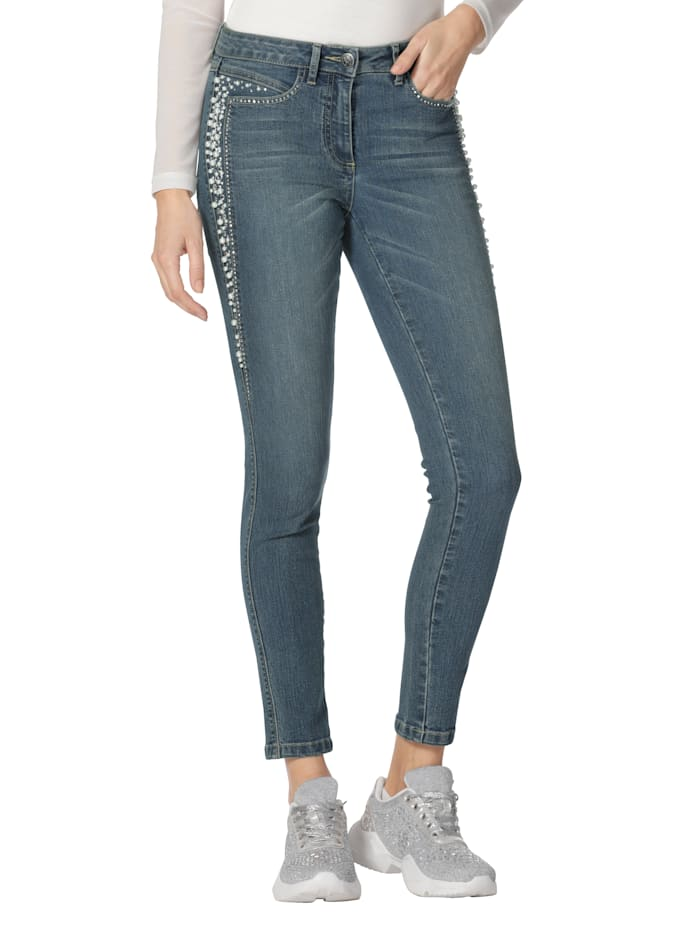 AMY VERMONT Jeans met kraaltjes en strassteentjes, Blue bleached