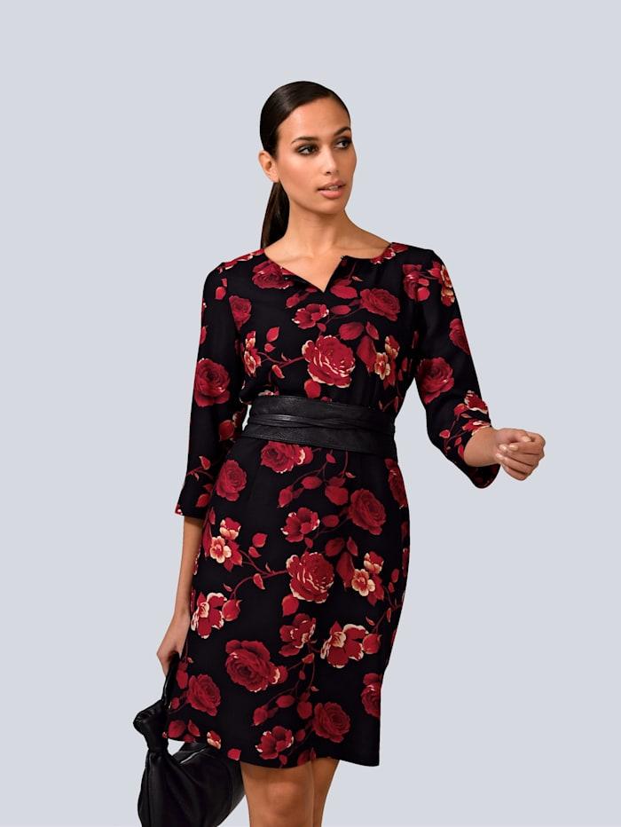 Alba Moda Kleid mit Schlüssel-Loch, Rot/Schwarz