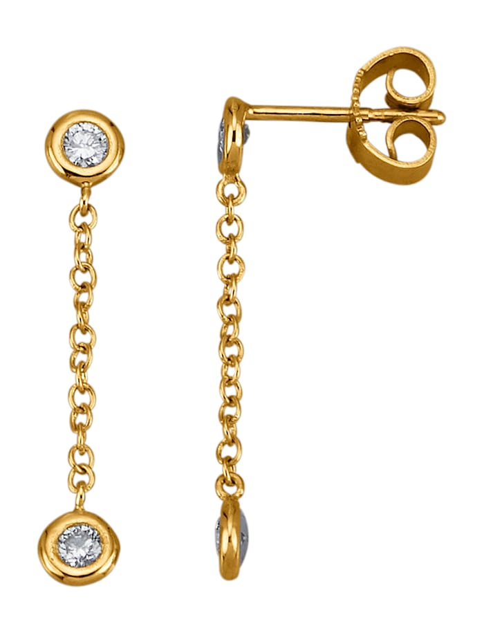 Amara Diamants Boucles d'oreilles en or jaune 585, Coloris or jaune