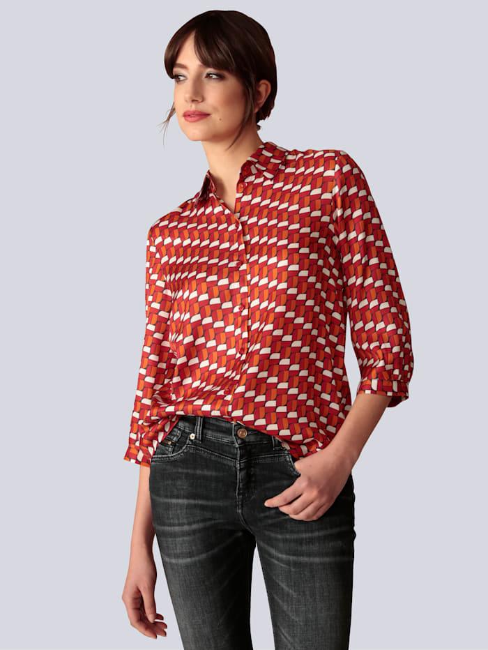Seidensticker Schwarze Rose Bluse mit Retromuster, Orange