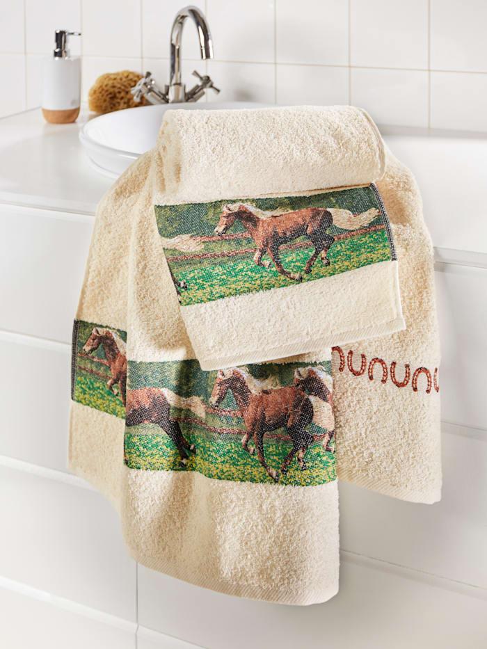 Frottéserie med hästar