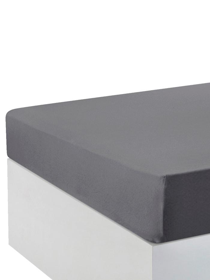 Webschatz Baumwoll-Jersey Spannbettlaken, Größe 90x200 + 100x200 im 2er-Pack, Silbergrau