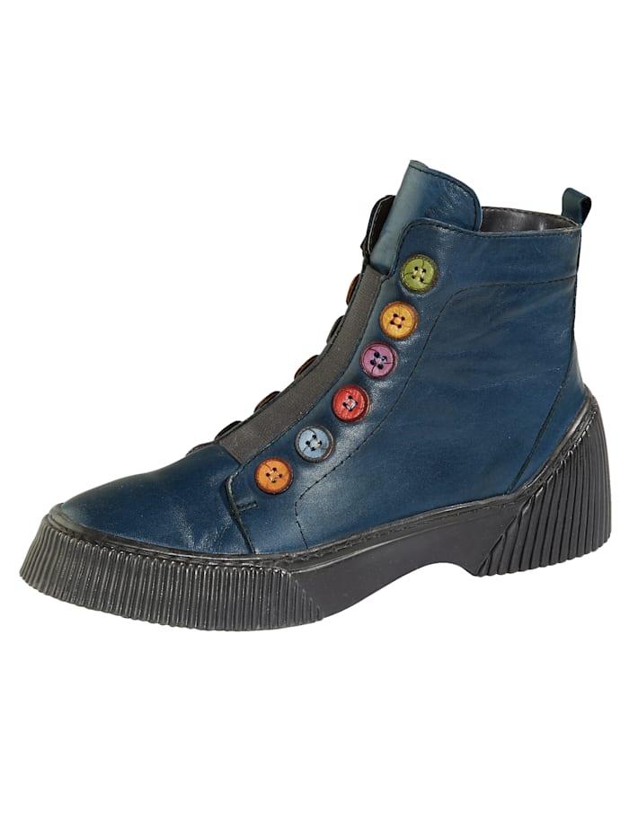 Gemini Stiefelette mit farbenfroher  Knopfapplikation, Marineblau