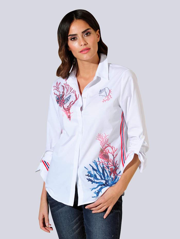 Alba Moda Bluse im exklusiv designten Print, Weiß/Koralle/Blau