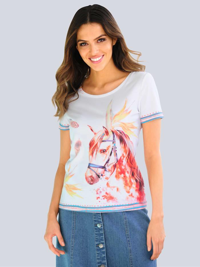 Alba Moda Strandshirt mit Motivdruck, Weiß