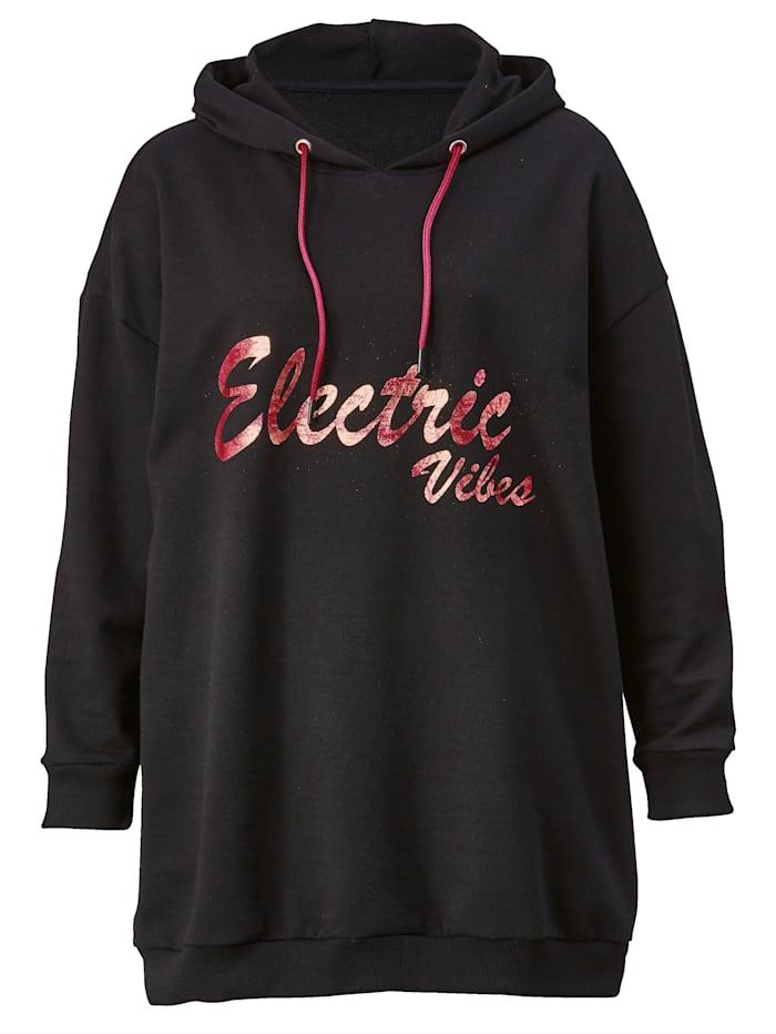 Janet & Joyce Sweatshirt met trendy print, Zwart/Pink