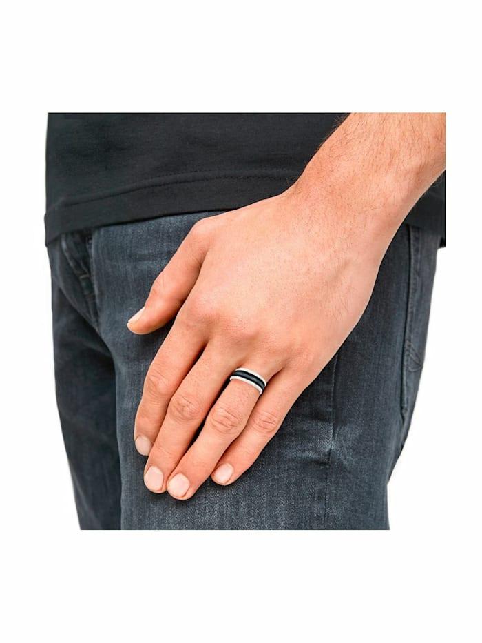 Ring für Herren, Edelstahl mit IP Schwarz | 10 mm breit