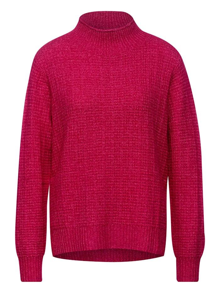 Street One Cosy Struktur-Pullover, raspberry pink melange