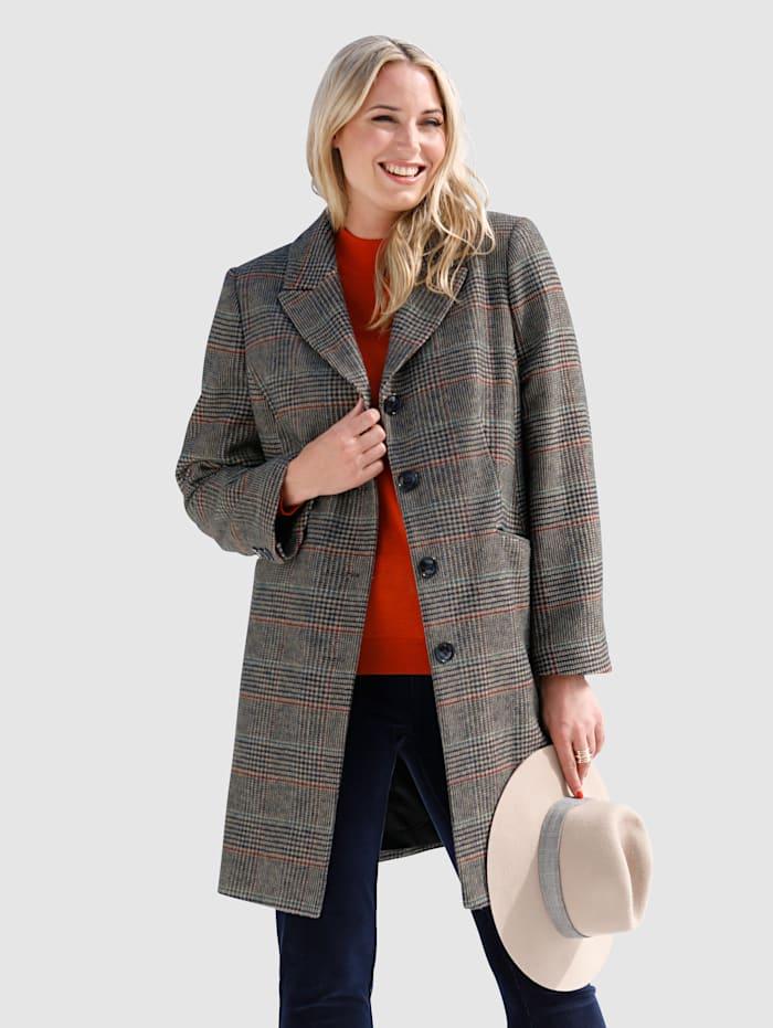 MIAMODA Manteau laine à motif carreaux, Marron/Marine