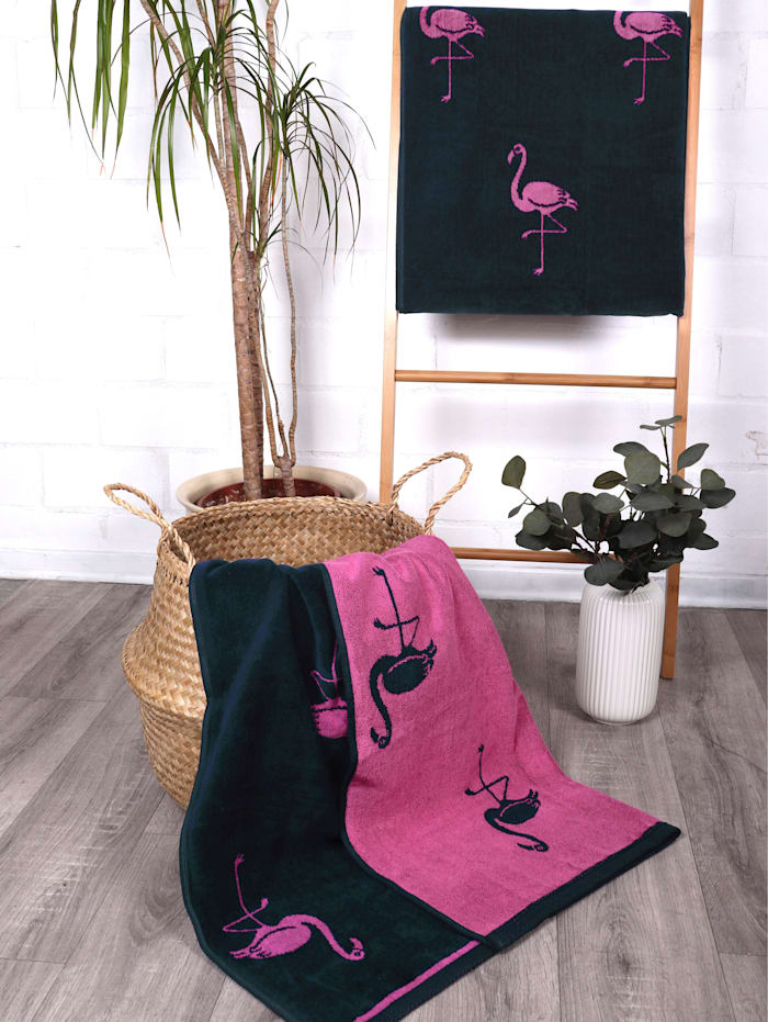 Strandtuch Velour 'Flamingo Allover'