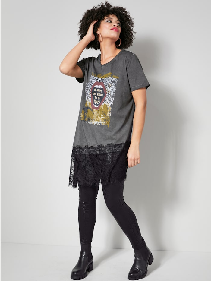 Longshirt met elastische detail aan de zoom