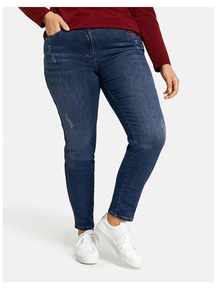 Samoon Betty Jeans mit Gallonstreifen im Snake-Design, Dark Blue Denim