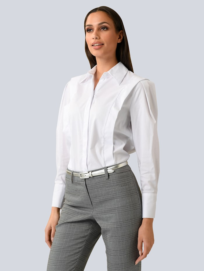 Alba Moda Bluse mit Flügelleisten, Weiß