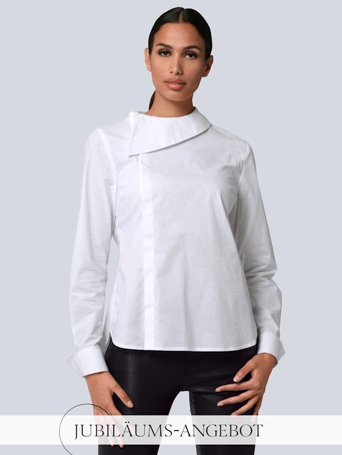 Alba Moda Bluse mit breitem Umlegekragen, Weiß
