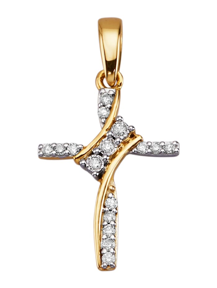 Kreuz-Anhänger mit Diamanten, Gelbgoldfarben