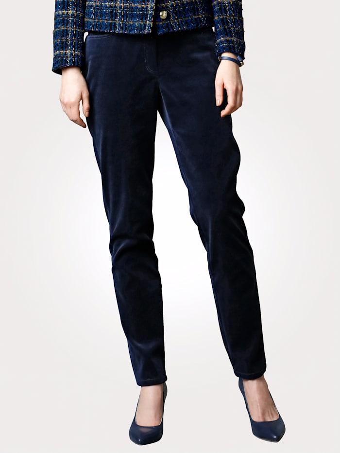 MONA Trousers made from velvet, Navy