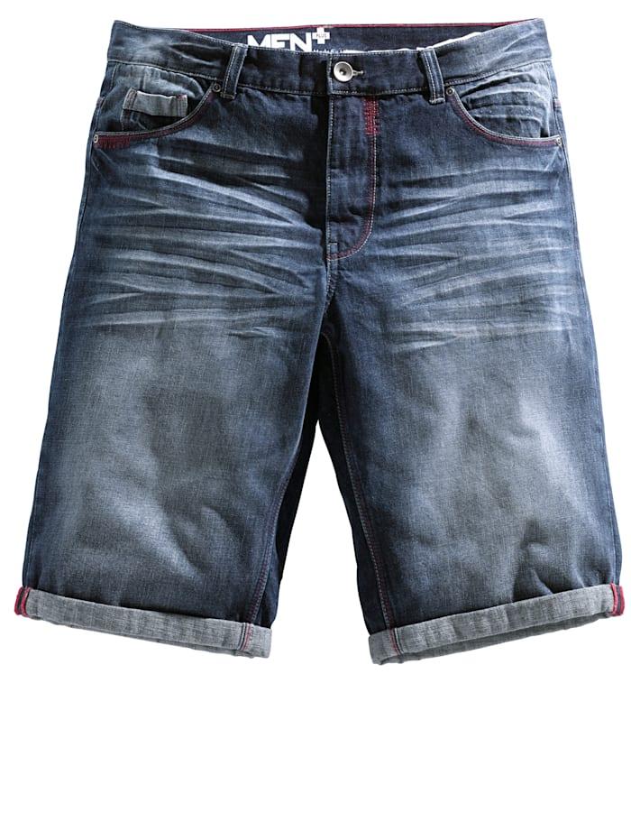 Men Plus Jeansbermuda in 5-pocketmodel, Dark blue