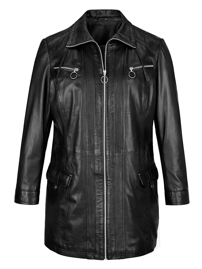 MIAMODA Leren jasje in lang model, Zwart