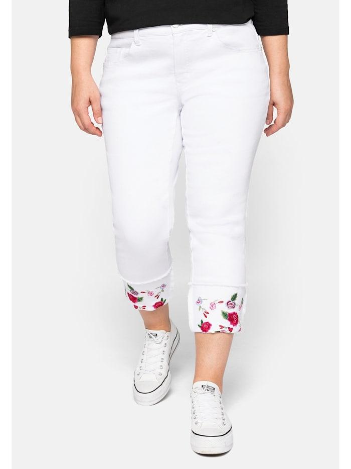 sheego by Joe Browns Jeans mit fixiertem Aufschlag und Blütenstickerei, white Denim