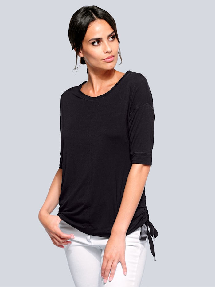 Alba Moda T-shirt à fronçage rapporté sur les côtés, Noir
