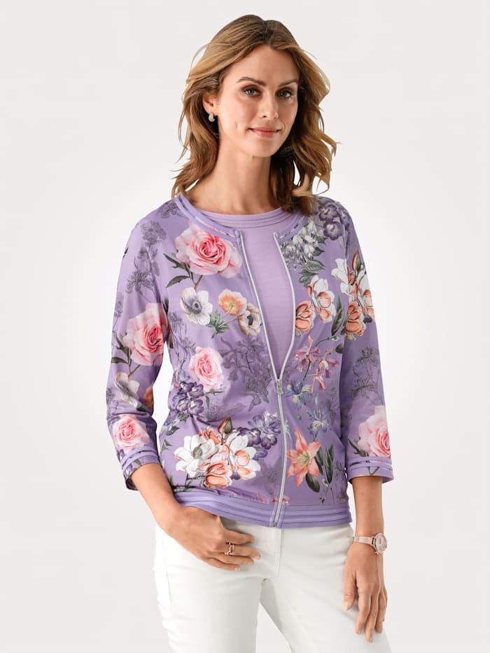 MONA Shirtjacke mit floralem Druck, Lavendel/Rosé