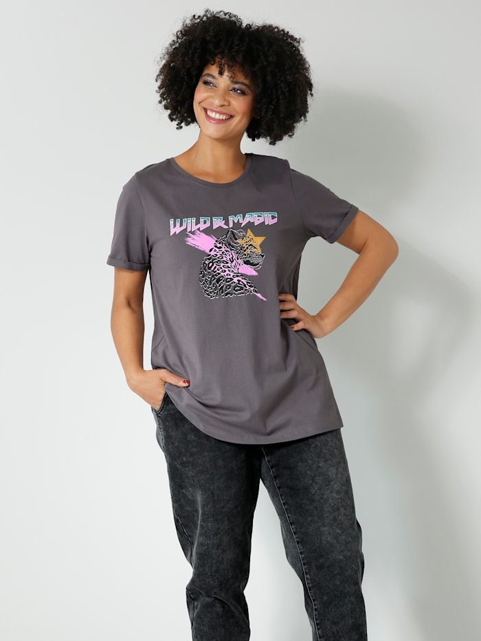 Angel of Style Shirt mit Print im Leo-Style, Anthrazit