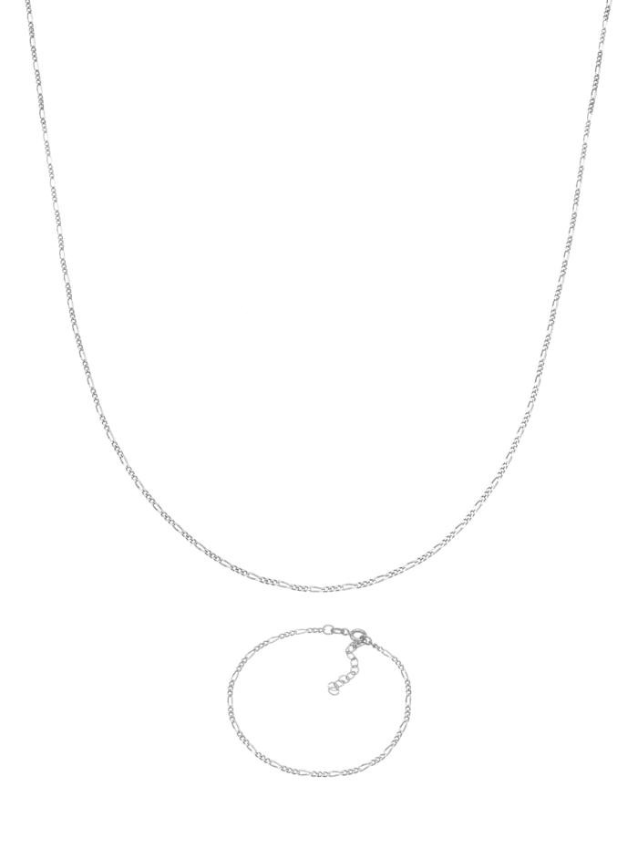 Schmuckset Figaro Halskette Armband Basic 925 Silber