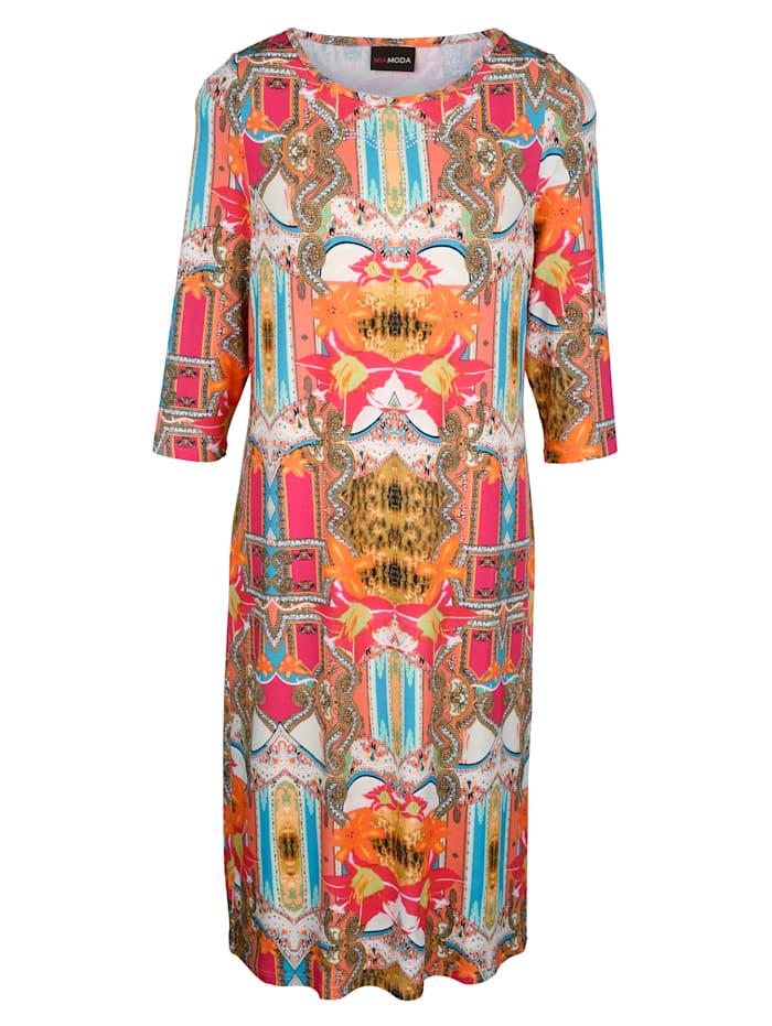 Jerseykleid mit glitzernden Dekosteinen am Ausschnitt