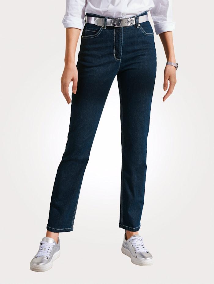 MONA Jeans mit Logostickerei, Dunkelblau
