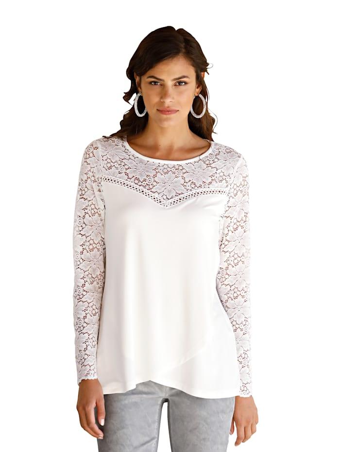 AMY VERMONT Shirt mit Spitzen-Einsatz, Off-white