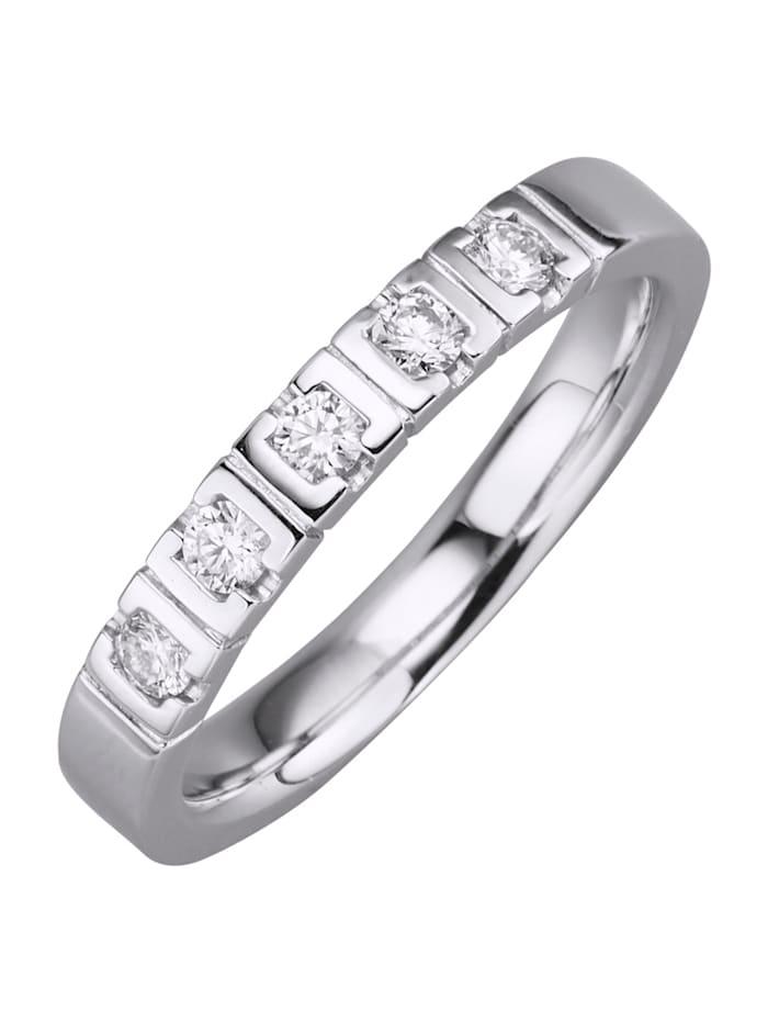 Diemer Diamant Damenring mit 5 Brillanten, Weiß