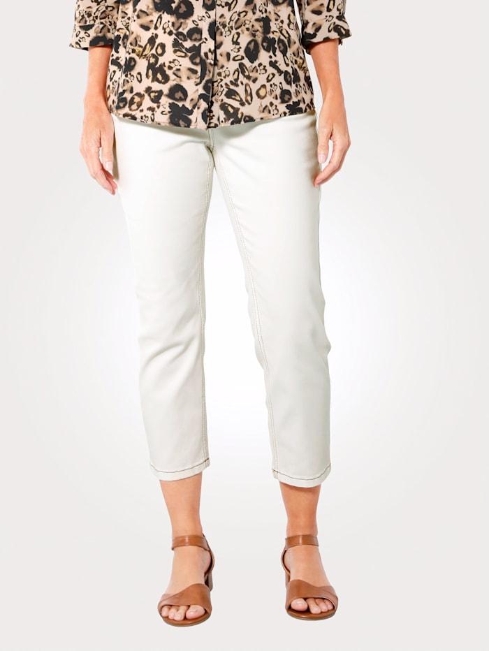 MONA 7/8 Jeans mit kontrastigem Stiching, Ecru