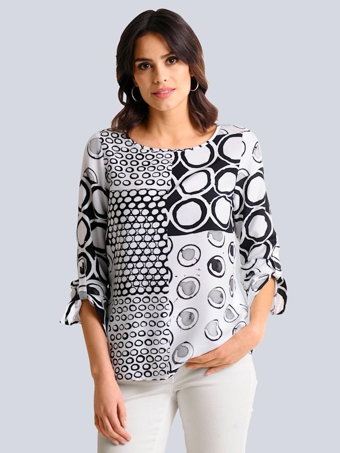 Alba Moda Bluse mit platziertem Print allover, Off-white/Schwarz