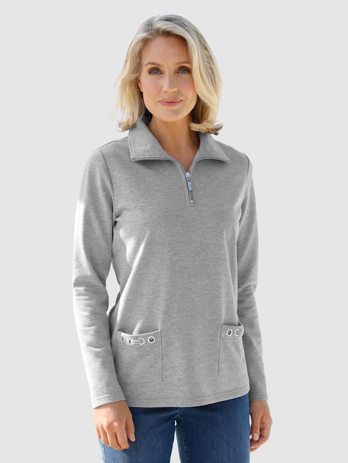 Paola Sweatshirt mit Troyerkragen, Grau
