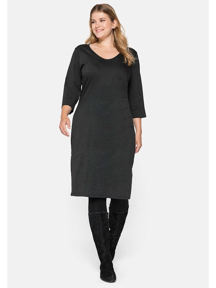 Sheego Kleid mit seitlichen Falten, anthrazit meliert