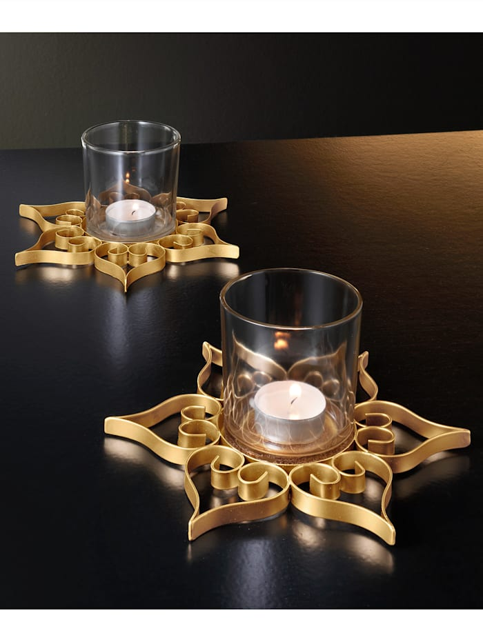 Värmeljushållare, 2 st., Guldfärgad