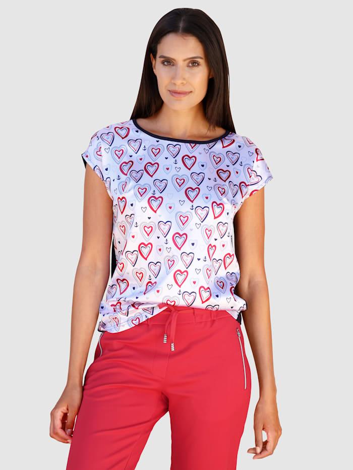 Laura Kent Shirt mit Herzdruck in Satinqualität, Marineblau