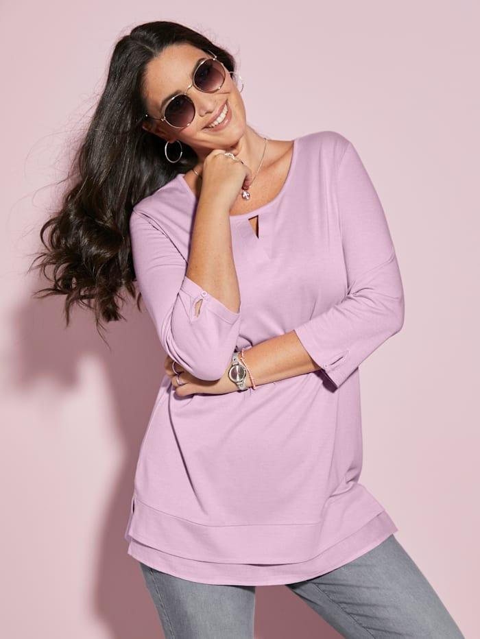 MIAMODA Shirt mit kleiner Aussparung am Ausschnitt, Rosé