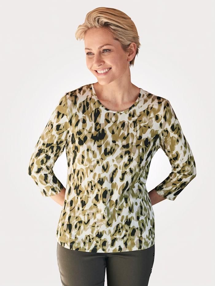 Barbara Lebek T-shirt imprimé devant et dos, Vert/Écru
