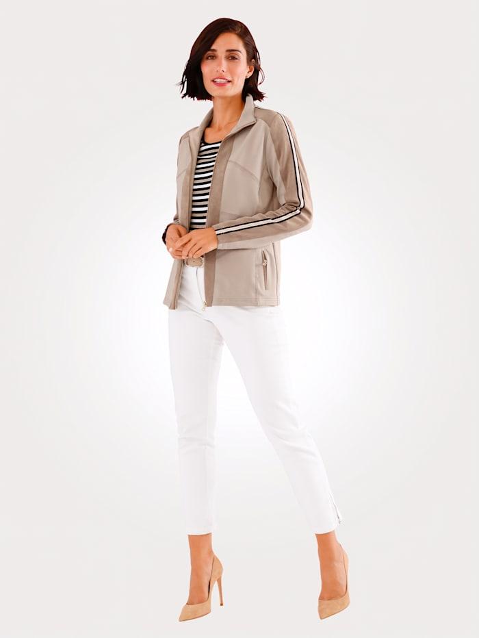 Tričkový kabátik s imitáciou velúru