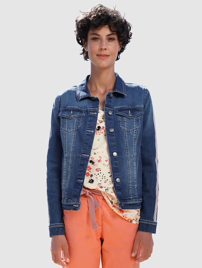 Dress In Jeansjacke mit Tape, Blue bleached