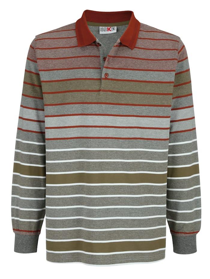 Roger Kent Poloshirt met strepen, Roest/Grijs/Olijf