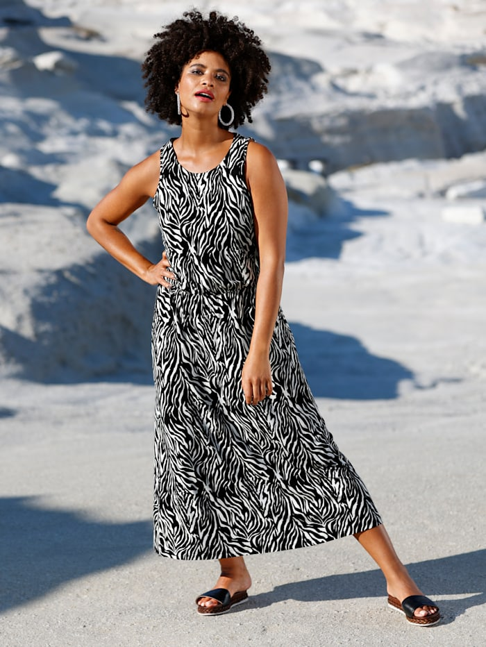 Angel of Style Jersey jurk met elastische band in de taille, Zwart/Offwhite