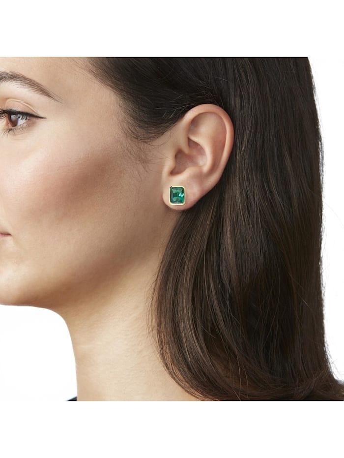 Ohrstecker mit grünen Kristallsteinen Silber 925