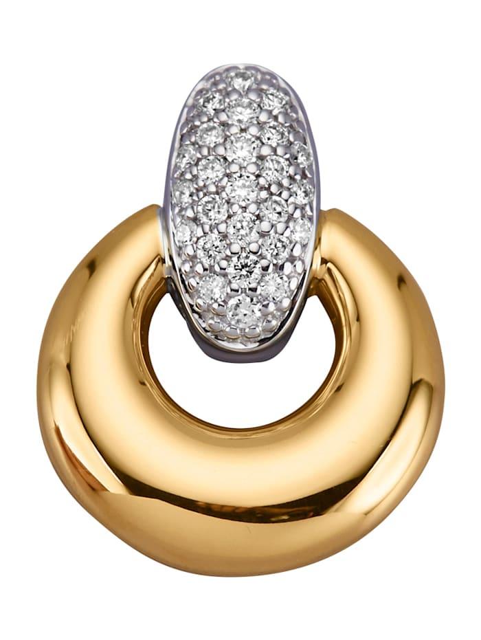 Diemer Diamant Anhänger mit Brillanten, Gelbgoldfarben/Weißgoldfarben